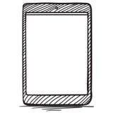 De Getrokken Vectorillustratie van tabletpc Hand Royalty-vrije Stock Foto's