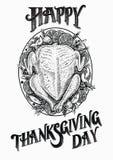 De getrokken vectorillustratie van Turkije hand Gelukkige Thanksgiving daykaart Stock Afbeeldingen