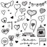 De getrokken vectorinzameling van de hartkrabbel hand royalty-vrije stock foto's