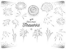 De getrokken vectorreeks van het vuurwerkelement hand Royalty-vrije Stock Afbeelding