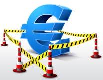 Euro die symbool op beperkt gebied wordt gevestigd Stock Foto