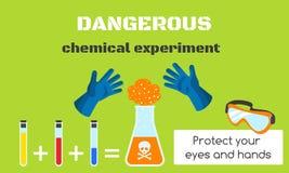 De gevaarlijke chemische banner van het experimentconcept, vlakke stijl royalty-vrije illustratie