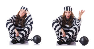 De gevangene in gestreepte eenvormig op wit Stock Foto's