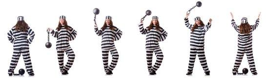 De gevangene in gestreepte eenvormig op wit Stock Fotografie