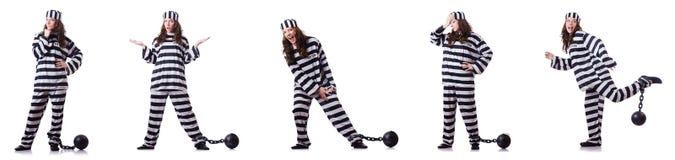 De gevangene in gestreepte eenvormig op wit Stock Afbeeldingen