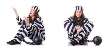 De gevangene in gestreepte eenvormig op wit Royalty-vrije Stock Afbeelding