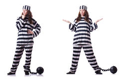 De gevangene in gestreepte eenvormig op wit Royalty-vrije Stock Foto's