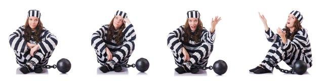 De gevangene in gestreepte eenvormig op wit Royalty-vrije Stock Foto