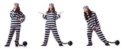 De gevangene in gestreepte eenvormig op wit Stock Afbeelding