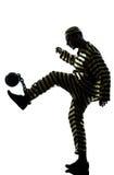 De gevangene van de mens misdadige het spelen voetbalbal Royalty-vrije Stock Fotografie