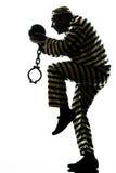 De gevangenemisdadiger van de mens met kettingsbal het ontsnappen Stock Fotografie