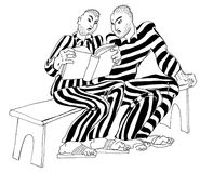 De gevangenen lezen een misdadige code Royalty-vrije Illustratie