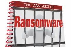 De gevaren van de Aanvallen van Ransomware Internet Cyber boeken 3d Illustratio Stock Foto
