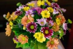De gevarieerde kleuren komt in een rustieke bruids die regeling tot bloei tegen een donkere achtergrond wordt geplaatst Royalty-vrije Stock Afbeeldingen