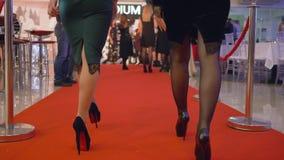 De gevierde gebeurtenis, schitterende rijke vrouwen in elegante kleding in hoge hielen loopt rood tapijt bij dure vakantie stock footage