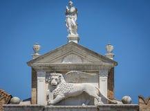 De gevleugelde leeuw van St Teken in Venetië, Italië Royalty-vrije Stock Foto