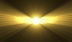 De gevleugelde lichte gloed van het zon Egyptische symbool Stock Afbeeldingen