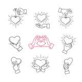 De gevoerde tekens van de handliefde Vectorhanden die hartvorm maken vector illustratie