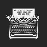 De gevolgen, het kader, de kleuren, de achtergrond en de tekst zijn Uitstekende schrijfmachine met tekst op papier Vector illustr Royalty-vrije Stock Afbeelding