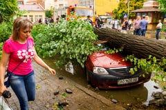 De gevolgen van de orkaan in Uzhgorod Royalty-vrije Stock Foto