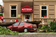 De gevolgen van de orkaan in Uzhgorod Stock Foto