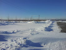 De gevolgen van het sneeuwonweer Stock Afbeeldingen