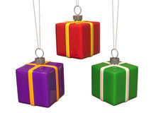 De gevormde ballen van Kerstmis giftbox Royalty-vrije Stock Afbeelding