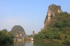 De gevouwen pagode landcape Guilin China van de Brokaatheuvel Stock Foto's