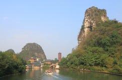De gevouwen pagode landcape Guilin China van de Brokaatheuvel Stock Fotografie