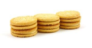 De gevulde koekjes van de vanille aroma Royalty-vrije Stock Foto's