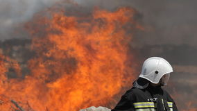 De gewaagde brandbestrijders doven grote brand met stock video
