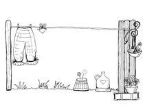 De gewassen wasserij is droog in lucht met liefde royalty-vrije illustratie