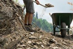 De gewassenmening van de jonge mens met schop beweegt stenen van de weg royalty-vrije stock afbeeldingen