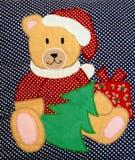 De gewatteerde teddybeer van Kerstmis Royalty-vrije Stock Afbeeldingen