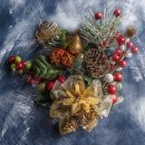 De geweven achtergrond van het Kerstmisstilleven stock foto's