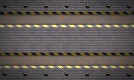De Geweven Achtergrond van het metaal De strepen van de waarschuwing stock illustratie