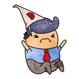 de geweven mens van beeldverhaalkawaii in dunce hoed stock illustratie