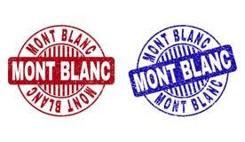 De Geweven Ronde Zegels van Grungemont blanc stock illustratie