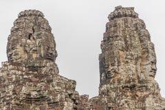 De gezichten bij de Bayon-Tempel, Siem Riep, Kambodja Gezicht Stock Foto