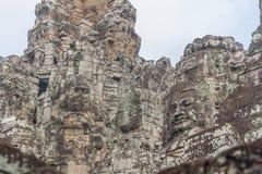 De gezichten bij de Bayon-Tempel, Siem Riep, Kambodja Gezicht Royalty-vrije Stock Foto
