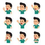 De gezichten die van de beeldverhaalverpleger verschillende emoties tonen vector illustratie
