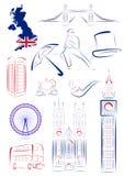 De gezichten en de symbolen van Groot-Brittannië vector illustratie