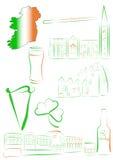 De gezichten en de symbolen van Ierland Stock Afbeeldingen