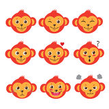 De Gezichten van de aapemotie Beeldverhaalc⠁ Ute Apen Beeldverhaal polair met harten Leuke Beeldverhaal Dierlijke Vector Funky  Royalty-vrije Stock Foto's