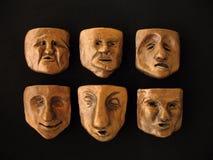 De gezichten van de klei Stock Afbeelding