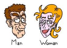 De gezichten van de man en van de vrouw Stock Foto