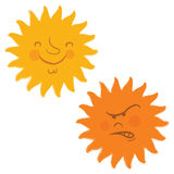 De gezichten van de zon, retro beeldverhaalstijl Royalty-vrije Stock Fotografie