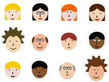 De gezichten van het beeldverhaal Royalty-vrije Stock Afbeelding