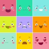 De gezichten van het beeldverhaal vector illustratie
