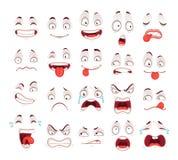 De gezichten van het beeldverhaal Gelukkige opgewekte glimlach het lachen ongelukkige droevige schreeuw en doen schrikken gezicht Stock Foto's